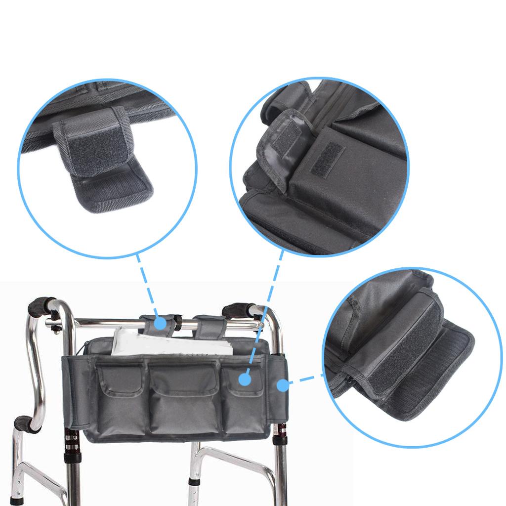 Wheelchair Walker Pouch Phone Bottle Key Glasses Holder 17.7x9.8'