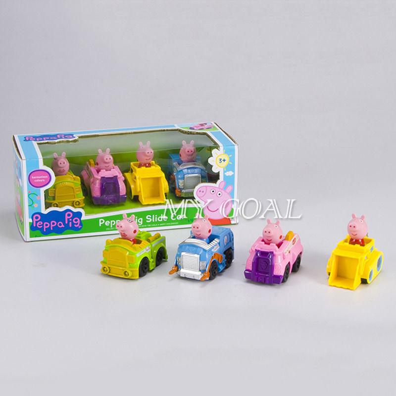 4 Figures Peppa Pig Slide Car Toy Doll Child Kids Birthday Favor Boys Girls Toys(China (Mainland))