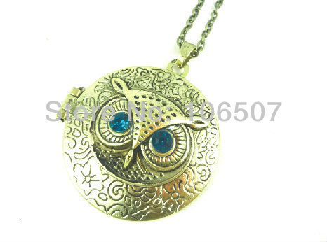 free shipping by express 100pcs Classic blue eye owl necklace circle photo frame choker trendy necklace sweater chain fashion