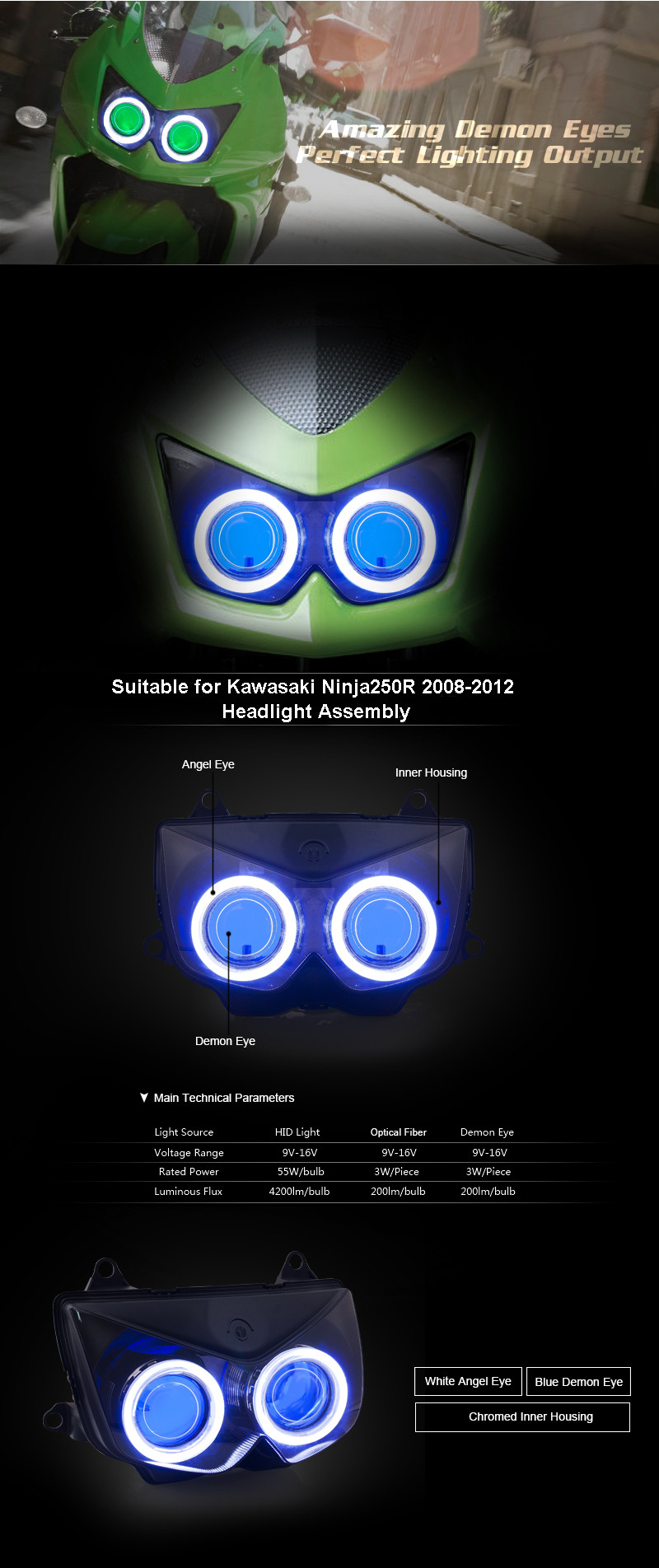 KT Headlight for Kawasaki Ninja 250R 2008-2012 LED Angel Eye Blue Demon Eye Motorcycle HID Projector Assembly 2009 2010 2011