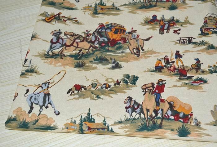 YY DIY Vintage Beige Western Cowboy & Boxcar Printed 100% Cotton Canvas Fabric 50x150cm Bedding Quilting Clothing DIY fabric(China (Mainland))