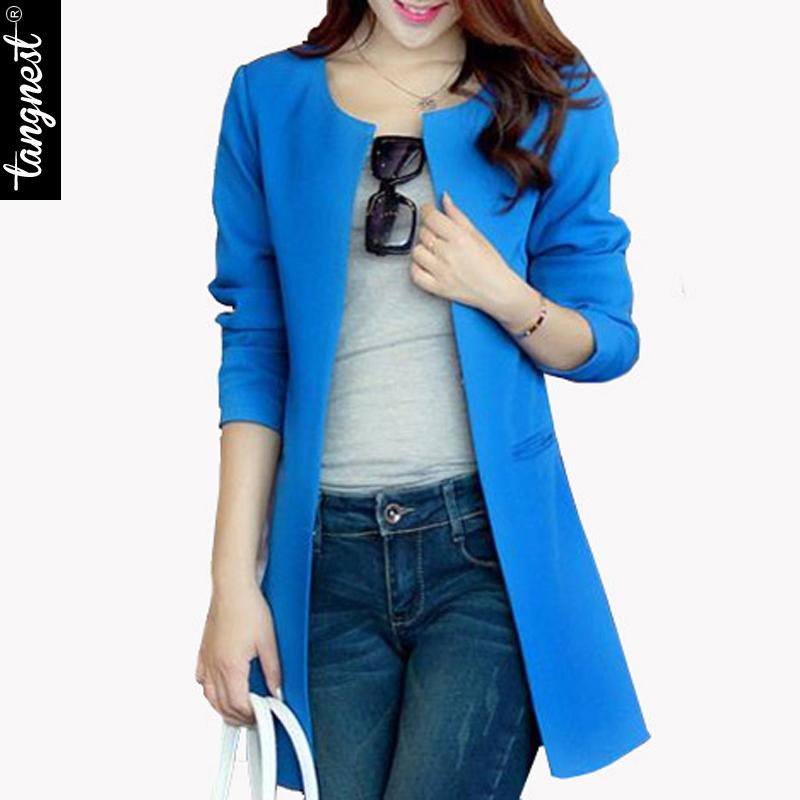 Women Blazer 2016 New Fashion Brand Plus Size S-XXL Single Breasted Long Slim Casual Blazers Suit Jacket Blaser Feminino WWX140(China (Mainland))