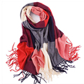 Winter Fashion Girls Tartan Scarf Women Poncho Bandana Plaid Scarf New Designer Acrylic Basic Shawls Womens