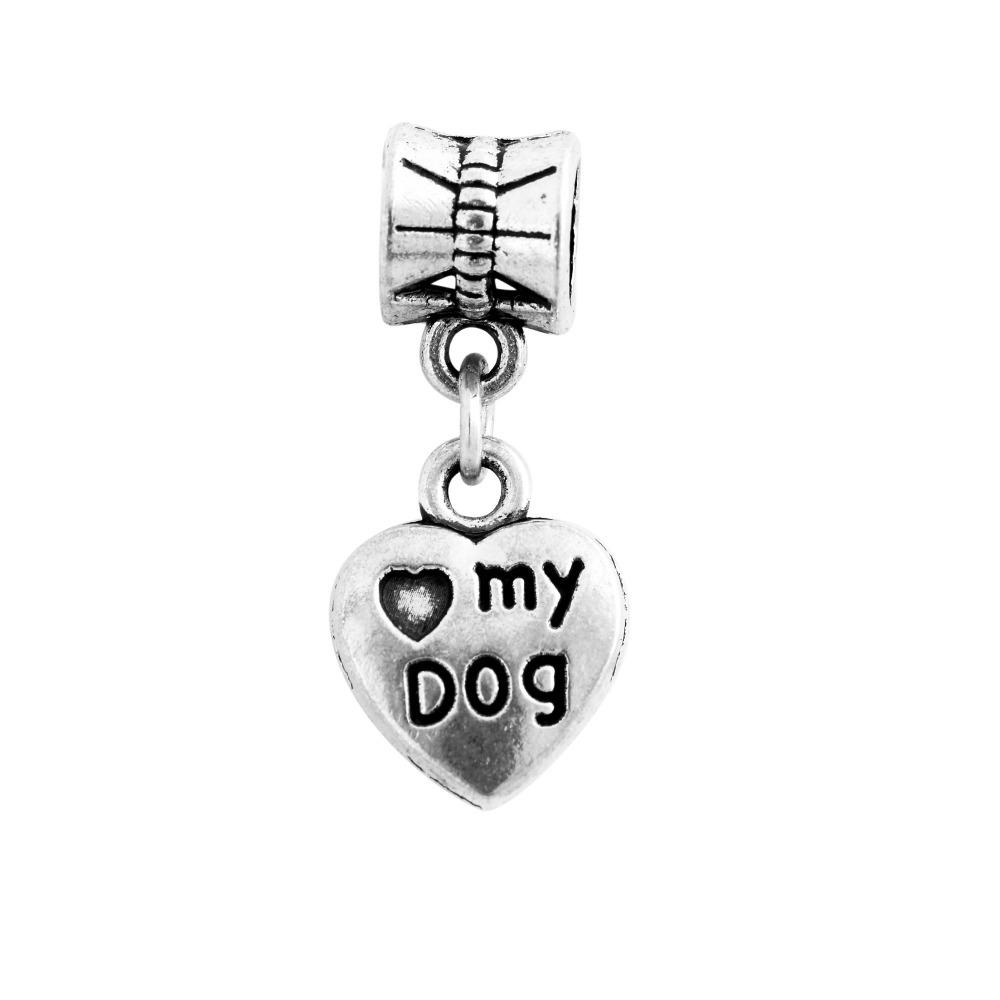 Free Shipping Women Jewelry Silver Bead Charms European Love My Dog Heart Pendant Fit Pandora Bracelets