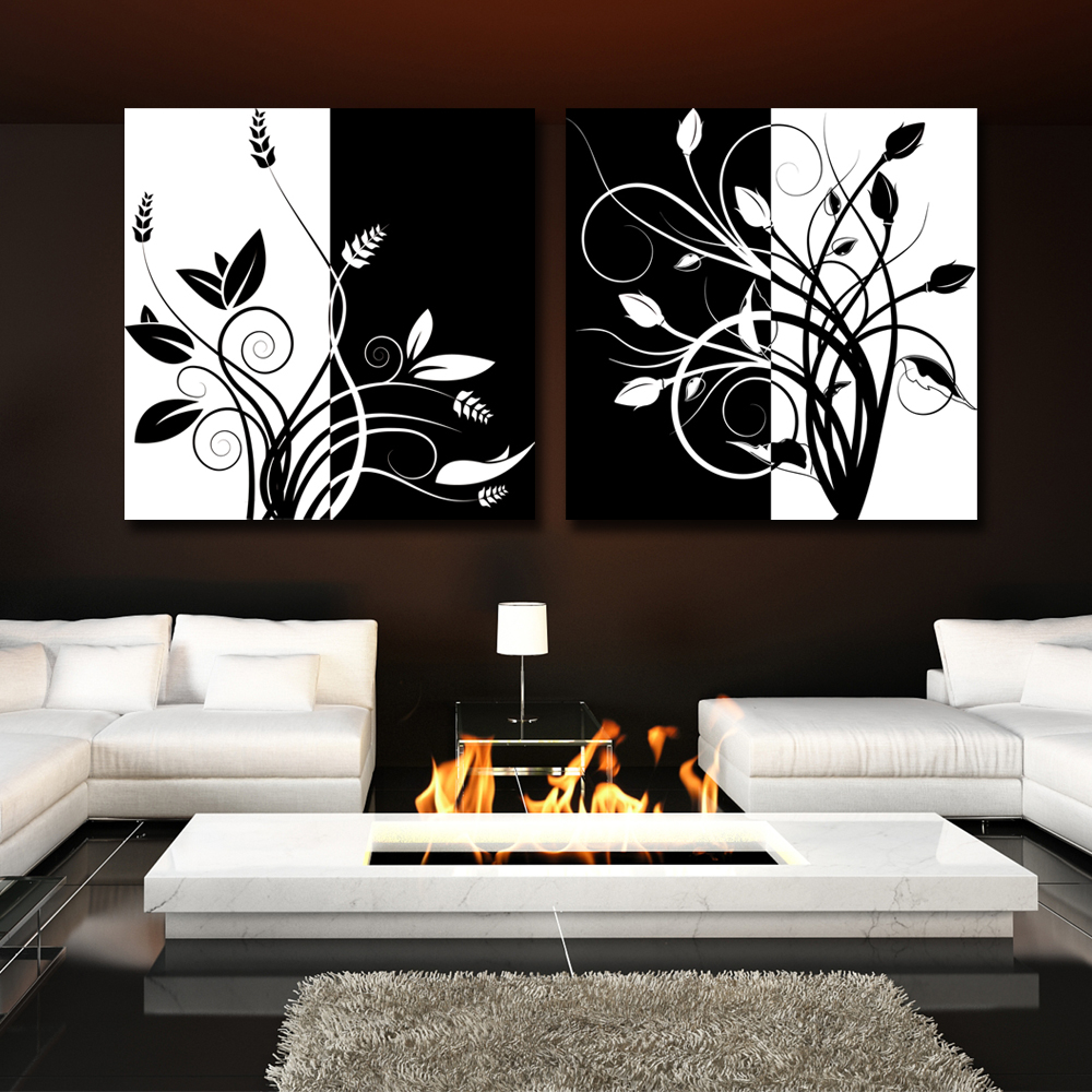 2 piece abstract black and and white tree home decor for Modern black and white wall art