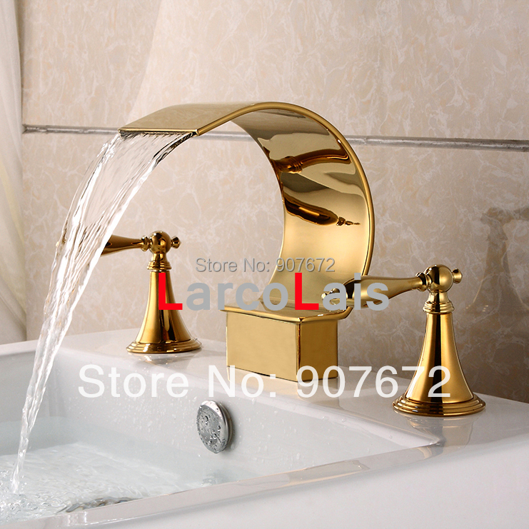 Luxury ti pvd golden waterfall bathroom basin sink faucet 8 widespread 3 holes vessel two for Waterfall faucets for bathroom