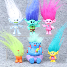 2016 Trolls Movie 6Pcs/Set 8cm Dreamworks Figure Collectible Dolls Poppy Branch Biggie PVC Trolls Action Figures Doll Toy Trolls(China (Mainland))