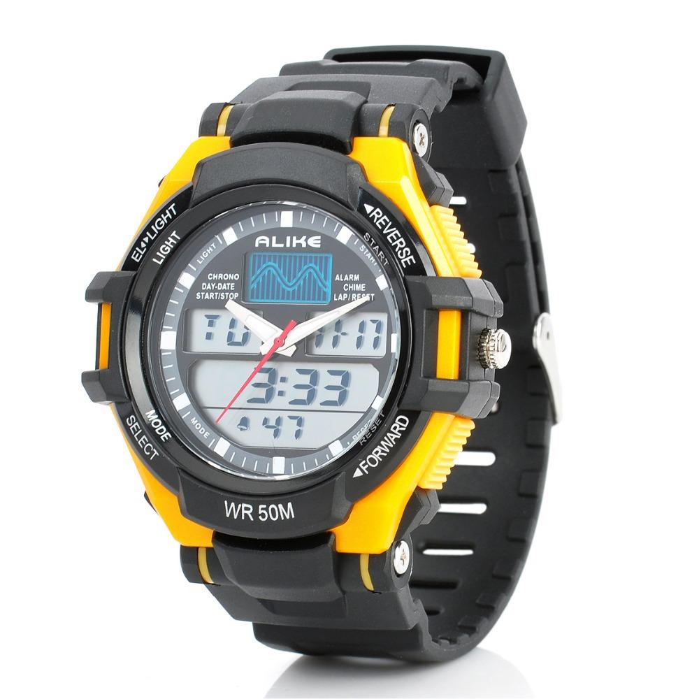 Sports Diving Analog + Digital Watch w/ EL Backlit / Stopwatch / Alarm Clock - Black + Yellow Men's fashion watches(China (Mainland))
