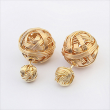 New Europe And America Hot ! Fashion Fine Jewelry Gold Plated Duplex Metal Weave Yarn Ball Pierced Stud Earrings For Women E-519(China (Mainland))