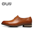 Cow Leather Men Oxford Shoes Bronw Black Mens Shoes Pointed Toe Cow Split Leather Slip On