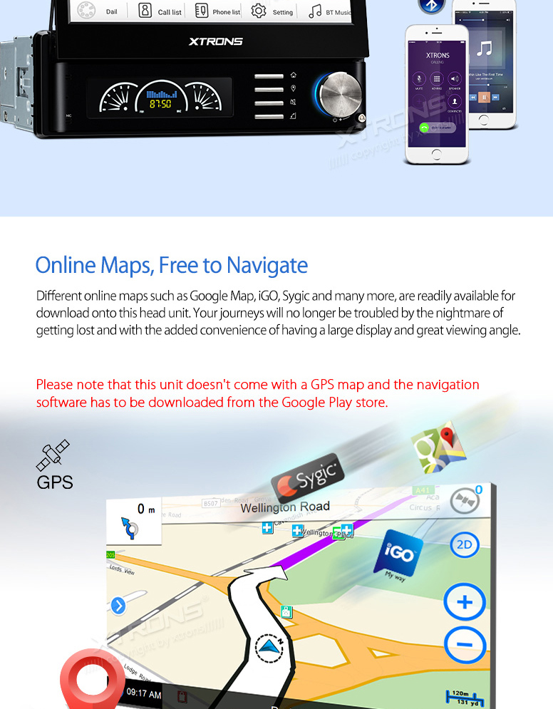 7″ Android 5.1 OS Detachable Panel Design Quad Core 1 Din Car Multimedia Player Single Din Car Navigation GPS One Din Car Radio