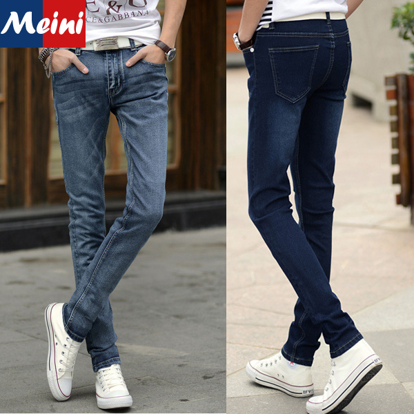 new 2015 korean denim pants trousers slim dark bluelight