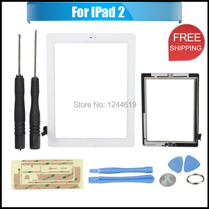 Screen Glass Touch Digitizer Assembly for iPad 2 & Openning Tools, Free Shipping,White(China (Mainland))