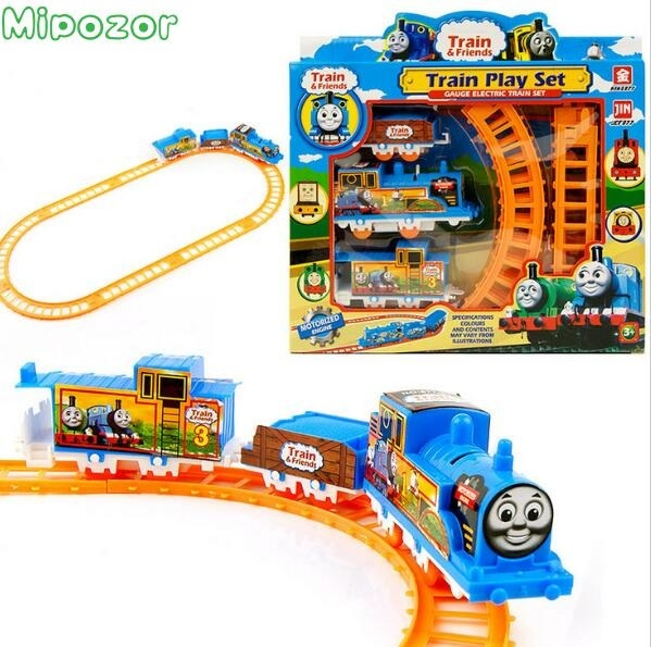 Mipozor Train Play Set Thomas Train Friends Battery Motorized Train Track Orbital Electric Train Rail Baby Children Toy Gift