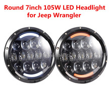 105W 7inch led headlight Dual Beam H4 Head lamp Jeep JK FJ Cruiser LandRover Harley Motorcycle - Shine lights store
