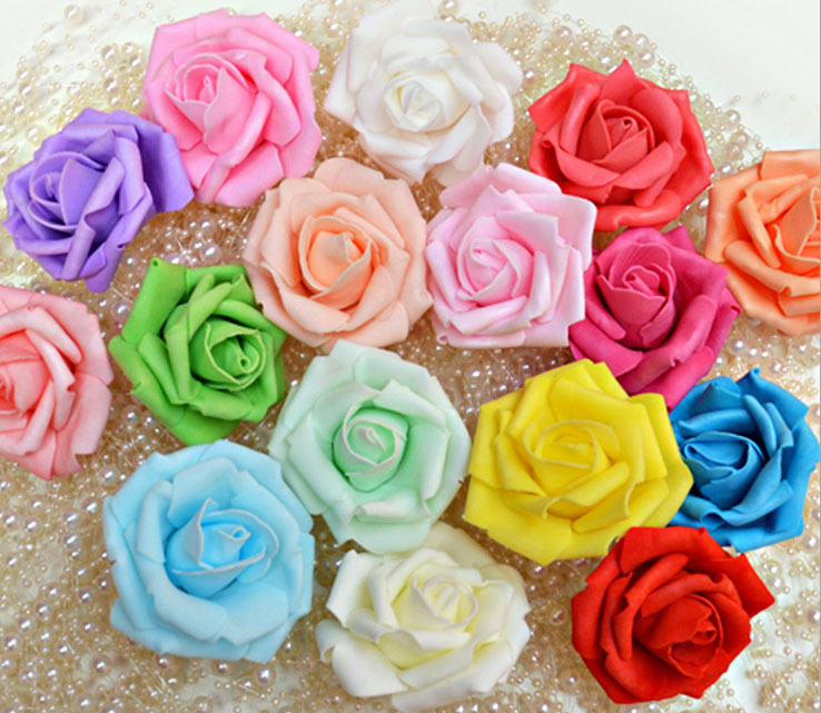 100pcs/lot 14 colors Artificial Foam Roses PE Foam Rose Flower Head Handmade DIY For Wedding Home Decoration 6-7 cm Diameter(China (Mainland))