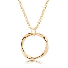 Moda model okrągły mały wisiorek naszyjnik złoty kolory Bijoux Collier eleganckie damska biżuteria na prezent czeski urok naszyjnik łańcuszkowy(China)