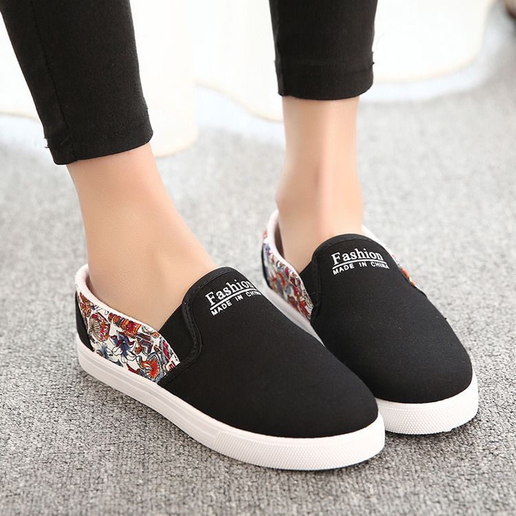 2015 summer canvas shoes black + gray two kinds color Women sports fashion female floral Flats - Happiness Share store