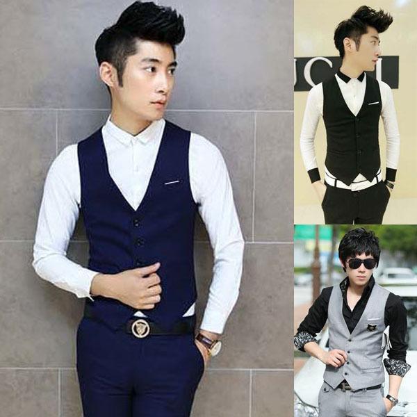 Free shipping new 2015 autumn British style plus size men clothes slim men vest men business casual suit vest(China (Mainland))