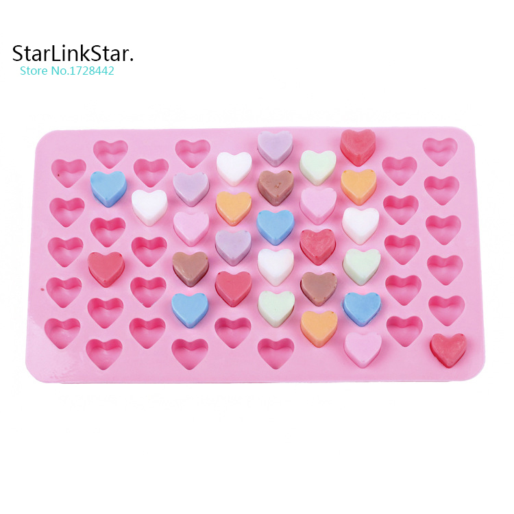 1pc 55 holes heart Shape silicone cake mold diy ice cube Chocolate Fondant Jelly Cookie Muffin ice mold mould bakeware(China (Mainland))