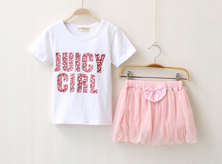Children Clothing Sets 2015 Summer Girls Suits Pure Cotton Letter T Shirt + Skirt Kids Clothes Set Baby Costume TR163 - Kid Monopoly Shop store