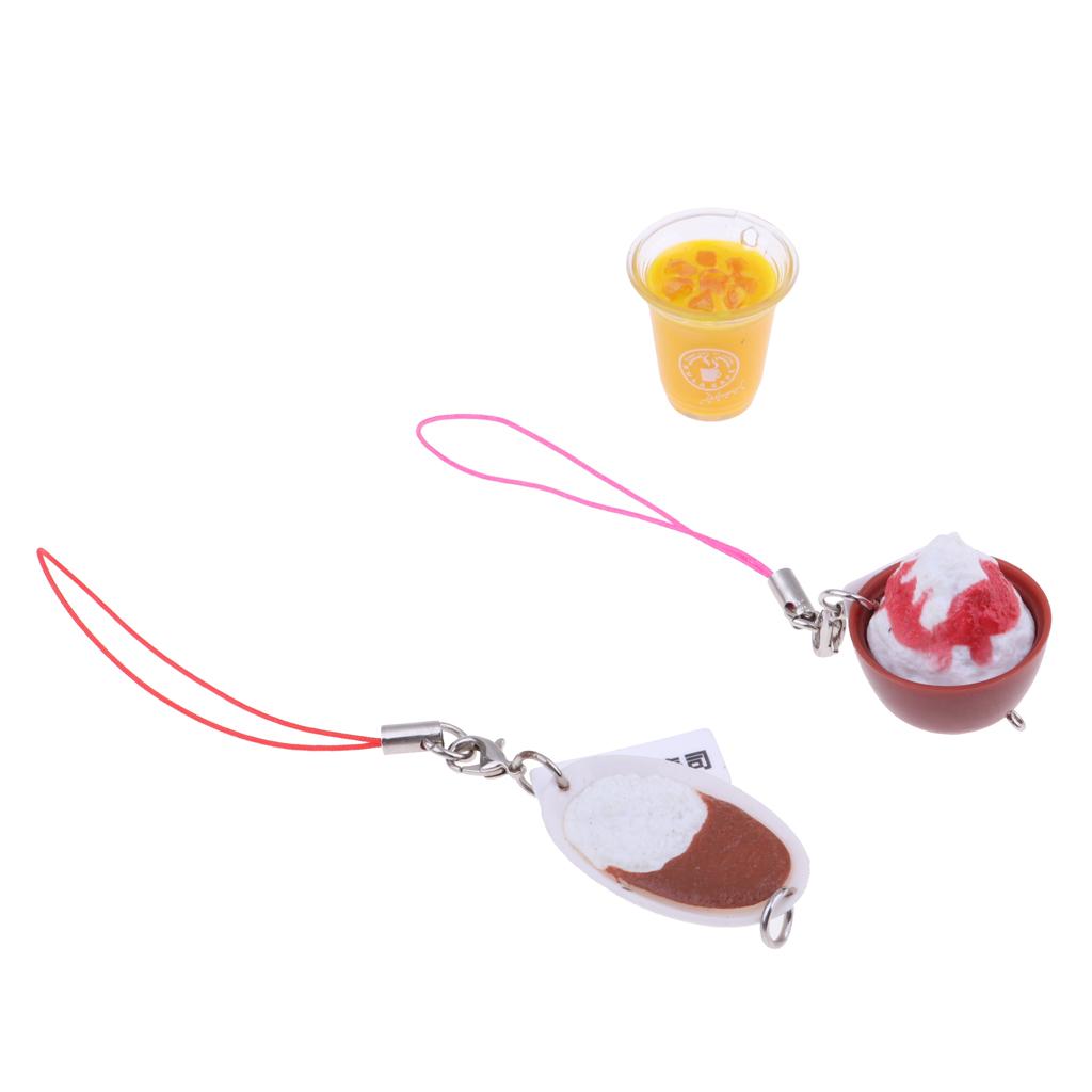 3Pieces 1/6scale Doll House Miniature Kitchen Decoration Tea Cake Dessert Food Kit Kids Toys Keychains