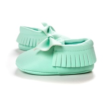 Baby Kids Casual PU Moccasins Prewalker Anti-Slip Walkers Girl Bowknots Shoes 0-18M(China (Mainland))
