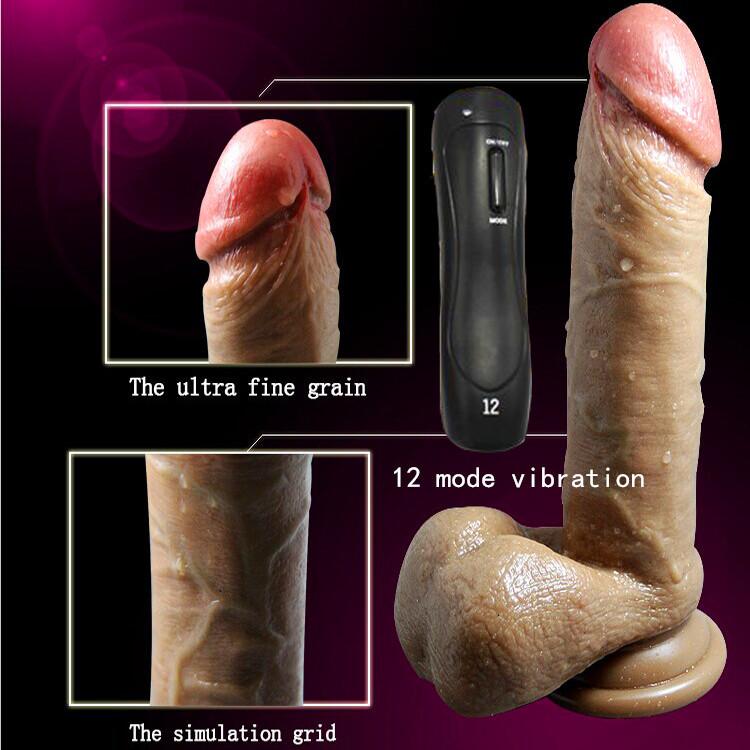 8'' multi-speed sex vibrator soft silicone realistic penis vibrator dildo vibrator sex toys for women,g spot vibrators for women(China (Mainland))