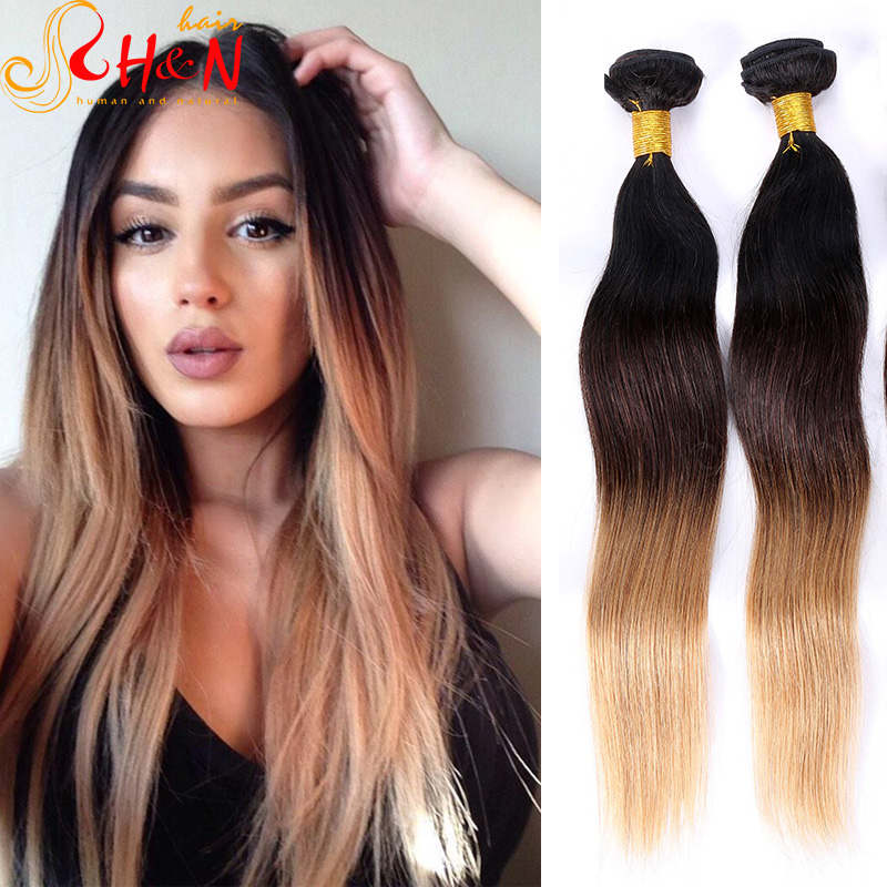 100%Virgin Human Hair Ombre Hair On Short Hair Three Toned Human Hair Extensions Highlighted Ombre Wavy Remy Hair<br><br>Aliexpress