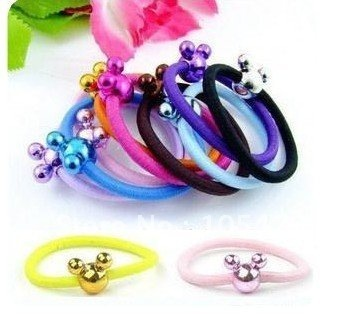 100pcs Assorted Color Mickey Hair Loops Girls Ladies Elastic Scrunchy Hair Rubber Band Ponytail Tie String