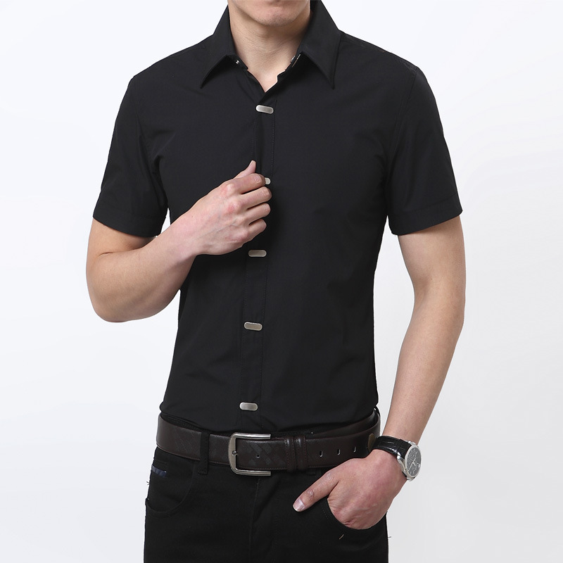 Black casual shirt mens custom shirt for Mens short sleve dress shirts