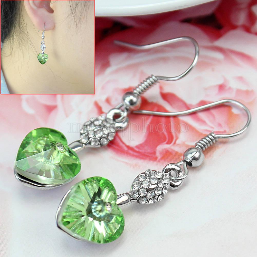1 Pair Heart Shape Green Rhinestone Earrings Jewelry Girls Birthday Gift(China (Mainland))