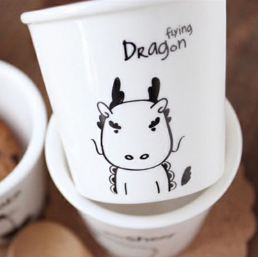 free shipping - lovely animal Chinese Zodiac (dragon) cups Ceramic Eco Cup porcelain Mug Coffee Cup milk cup(China (Mainland))
