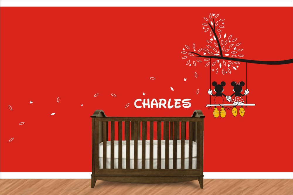 Deco Pour Cuisine En Bois : Aliexpresscom  Buy Mickey Mouse Minnie Mouse On A Branch Wall Decal