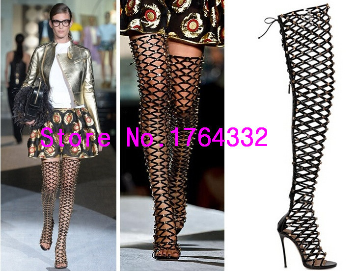 2015 summer style thigh high boots gladiator