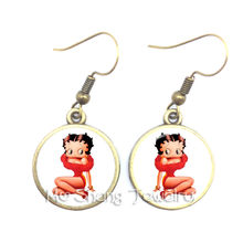 2018 New Betty Boop Earrings Harajuku Cute Cartoon Picture Dangle Earrings Jewelry Glass Cabochon Earrings Fashion Jewelry Gifts(China)