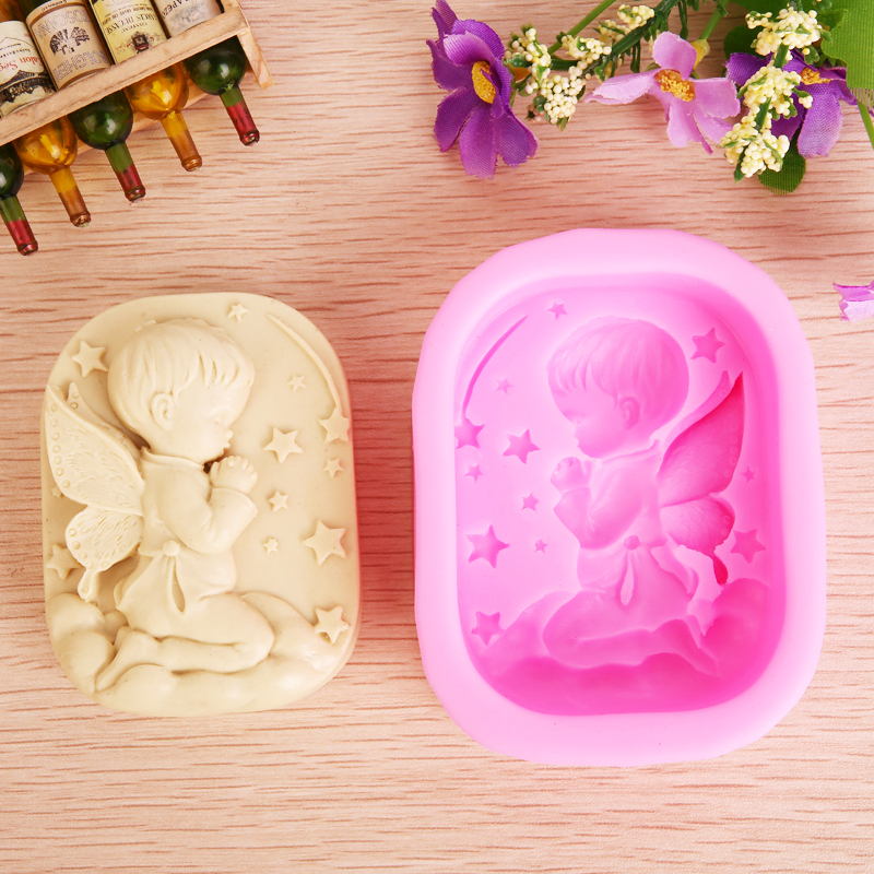 3D 1-Cavity Baby Praying Angel Boy Silicone Candle Mold,Form for soap ,Moulds for soap making,Fondant Cake Molds JH017(China (Mainland))