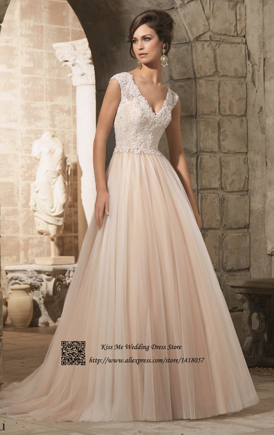 Cool wedding dresses for young: Cheap wedding dresses champagne color