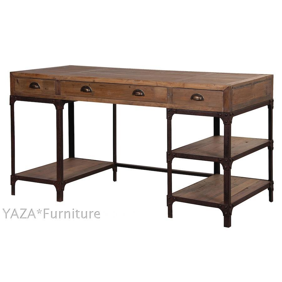 french country style desk loft nostalgic retro iron wood