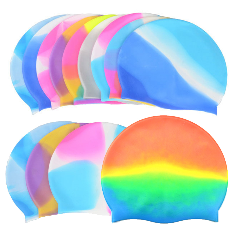 Rainbow color swimming cap Silicone rubber Children swimming cap Adult men women waterproof swim caps hat swimming accessories(China (Mainland))