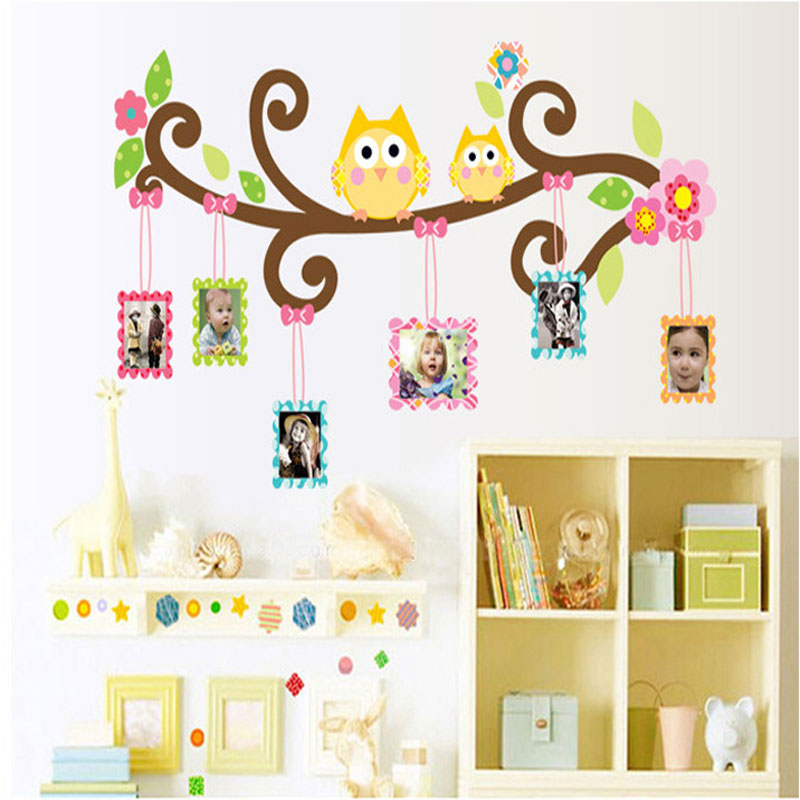 Large owl frame wall stickers for kids rooms wall art for Autocollant dcoratif mural