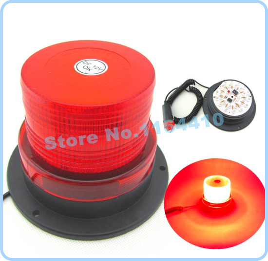 DC12V High power Magnetic Mounted Warning flash beacon Strobe Emergency light Police lights Red Color(China (Mainland))