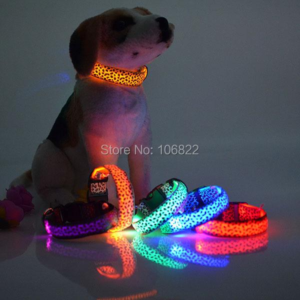 Pet Dog Leopard Nylon Safety LED Collar Colorful Flash Light Neck(China (Mainland))