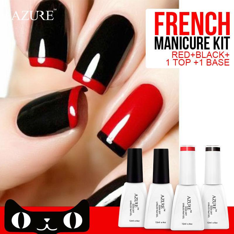 4pcs Azure Nail Gel Polish French manicure Black Red Color UV Lamp LED Soak Off French Sticker Kit Top Coat Base Coat UV gel