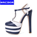 WRCIBOR 2017 Fashion Woman Sexy Thin High Heels Pointed Toe high heeled shoes 5cm Platform T
