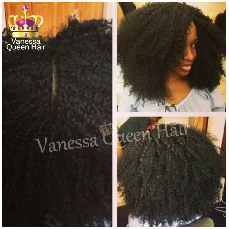 2015 Brazilian hair afro kinky curly wigs synthetic lace front wig glueless black women - Vanessa Queen Hair store
