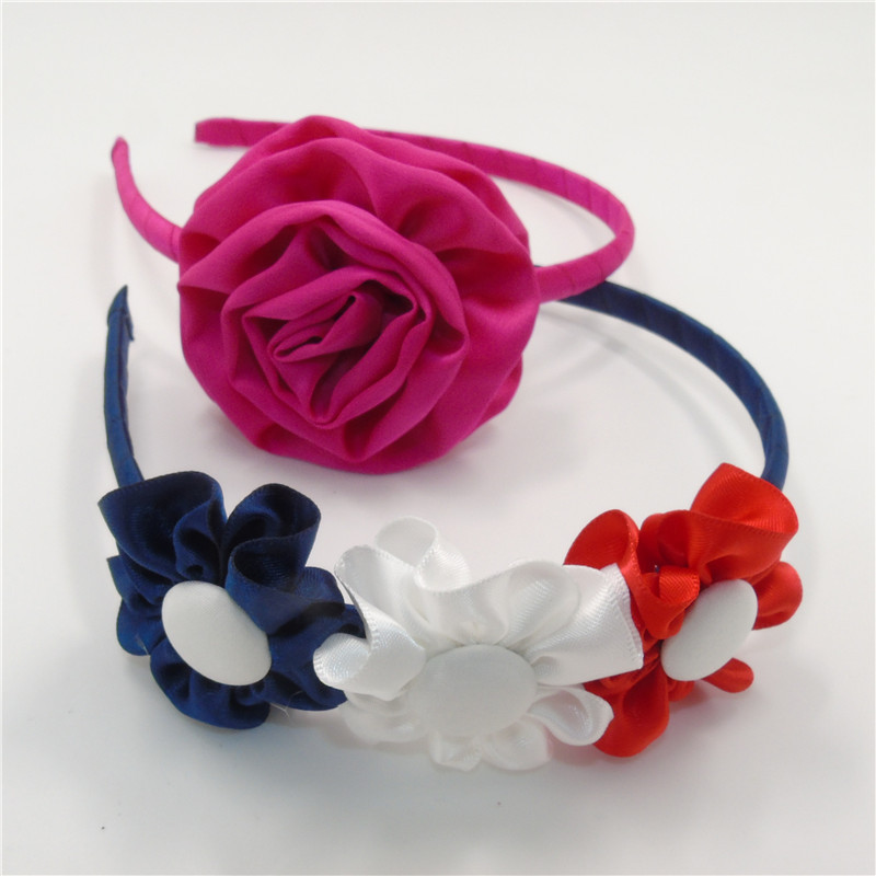 10pcs/lot Baby Flower Headband Rosette Floral Girl Hairband Vintage Chic Baby Head Wear Rose Red White Vintage Summer Head Bands(China (Mainland))
