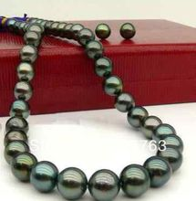 "xiuli 00111 set of 18""AAA 11-12MM TAHITIAN MULTICOLOR BLACK PEARL NECKLACE earring 14k(China (Mainland))"