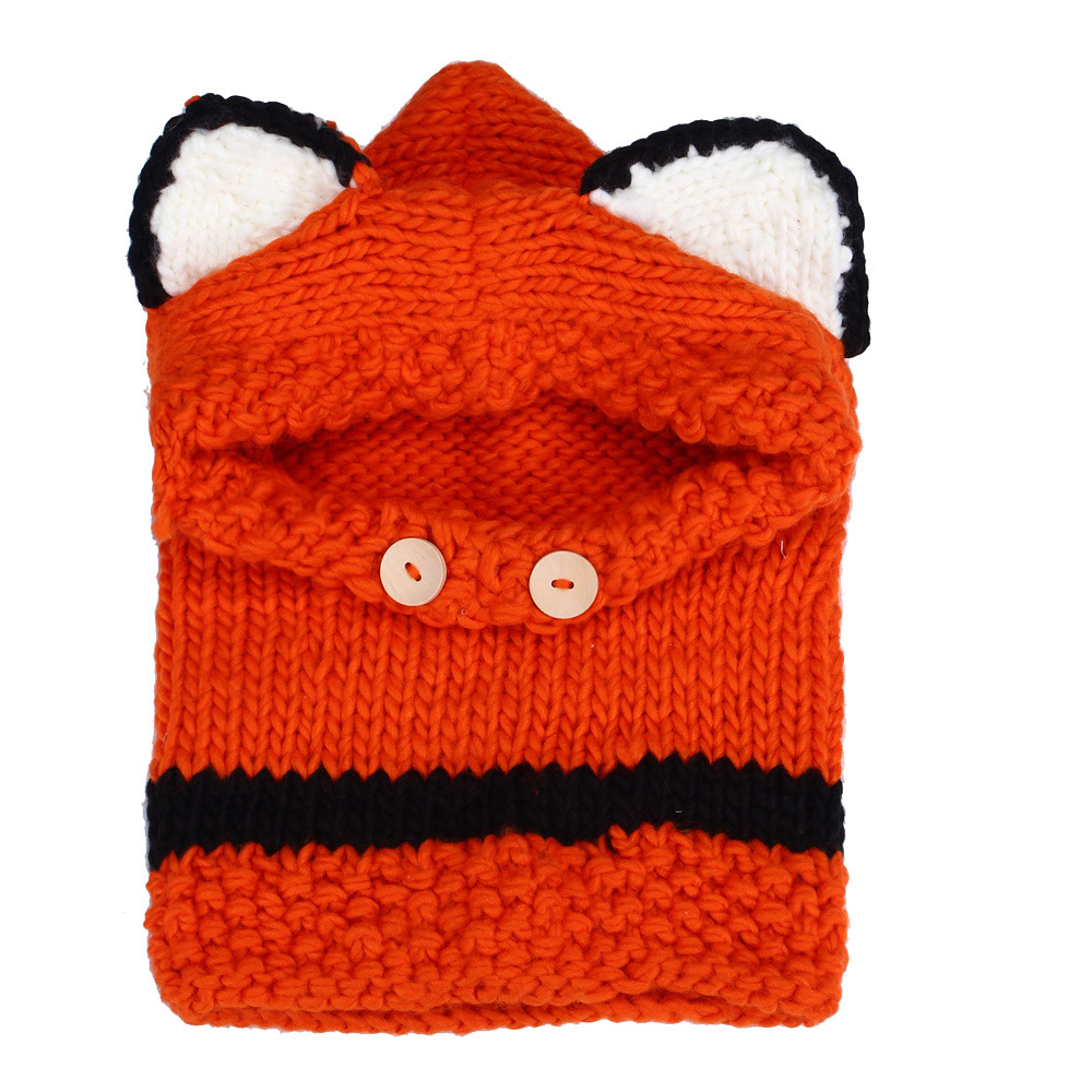 2016 Korean Winter Warm Neck Wrap Fox Scarf Caps Cute Children Wool Knitted Hats Baby Girls Shawls Hooded Cowl Beanie Caps