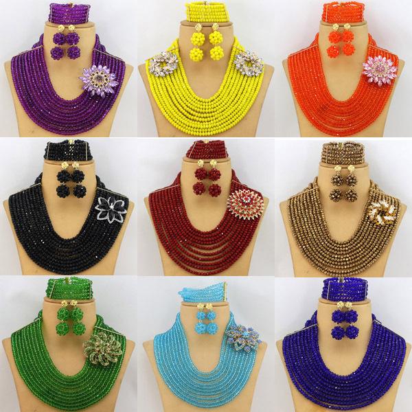 2015 Hot African Beads Jewelry Set Nigerian Wedding Beads Jewelry Set Bridesmaid Necklace Jewelry Set Free Shipping AES807(China (Mainland))